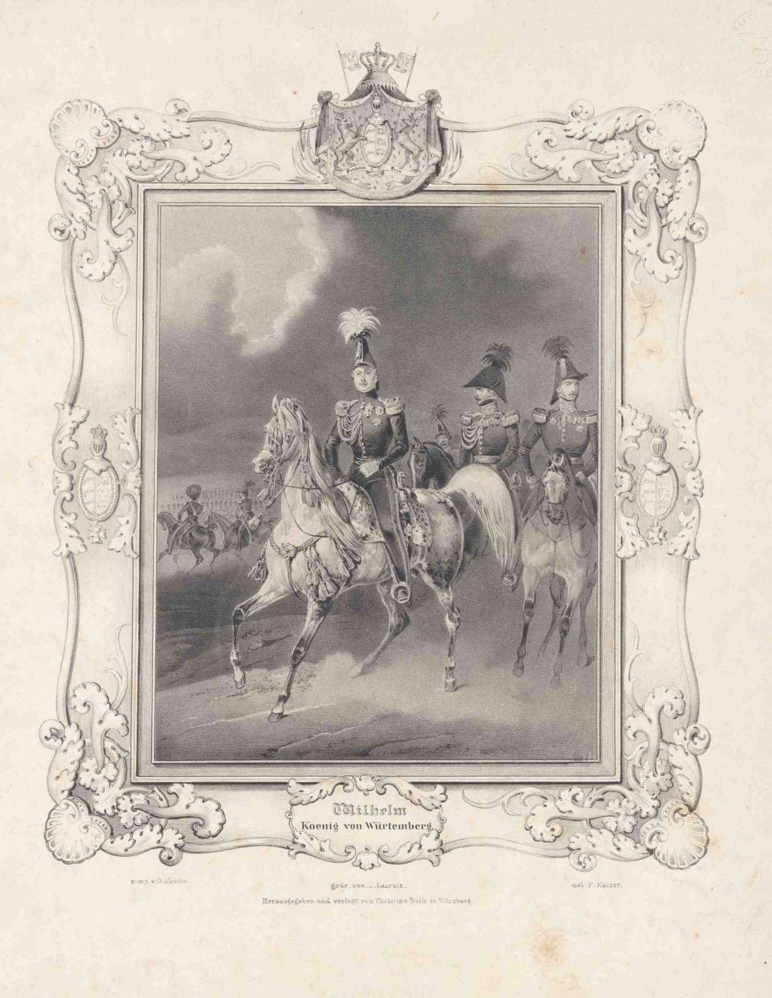König Wilhelm I. von Württemberg in Uniform, Mütze und Orden, zu Pferd reitend vor nachfolgenden Offizieren, Bild 1