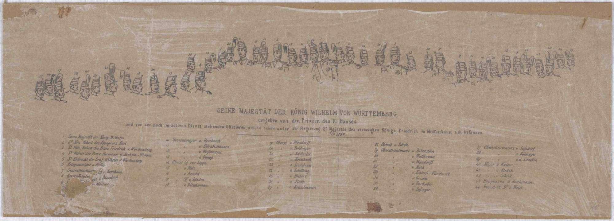 König Wilhelm I. von Württemberg mit Prinzen und Offizieren in Uniform zu Pferden bei Ausritt vor Stadtansicht Cannstatt anlässlich Gedächtnisfeier 100-jährigem Geburtstag König Friedrich I., 6. November1854, 1v