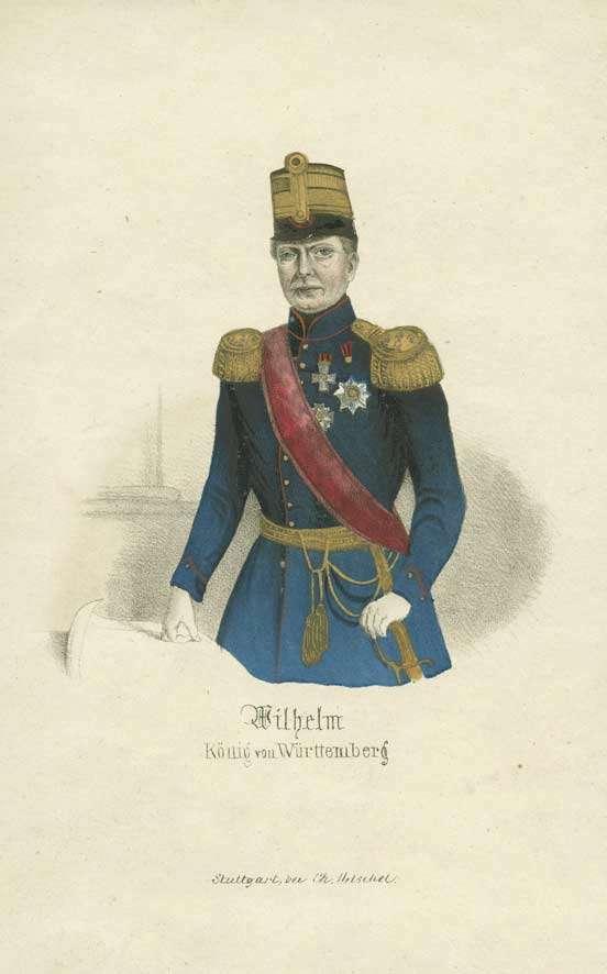 Wilhelm I., König von Württemberg (1781- 1864), in württ. Generalsuniform mit Mütze, Orden und Schärpe, Brustbild in Halbprofil, Bild 1