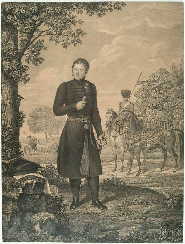 Wilhelm I., König von Württemberg (1781- 1864), als Kronprinz in Litewka mit Orden, stehend, im Hintergrund hügelige Landschaft und Reiter, Bild 1