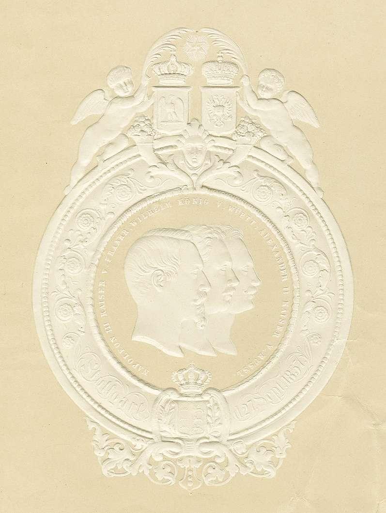 Regentenabbildungen von Kaiser Napoleon III., König Wilhelm I. von Württemberg und Zar Alexander II. von Russland, Bild 1