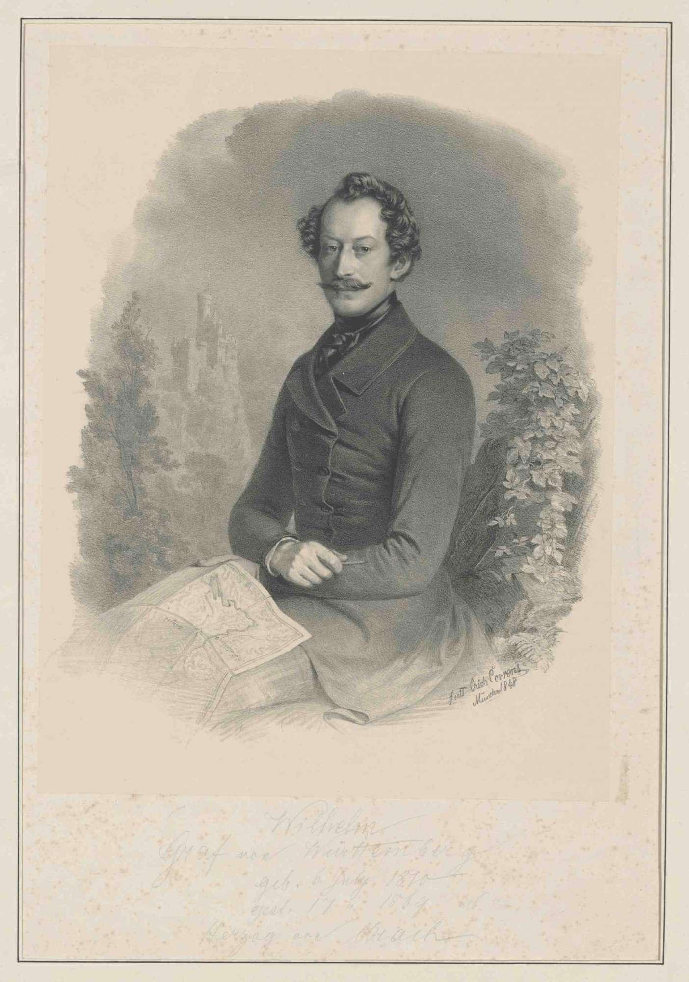 Herzog Wilhelm (I.) von Urach, Graf von Württemberg (1810- 1869) mit Landkarte in Landschaft sitzend, im Hintergrund Schloß Lichtenstein, Bild 1