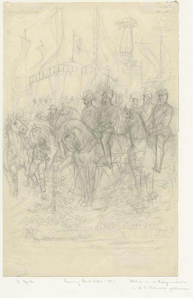König Karl I. von Württemberg zu Pferd mit Offizieren jeweils in Uniform mit Mütze auf dem Cannstatter Volksfest, Im Hintergrund Buden und die Fruchtsäule, Bild 1