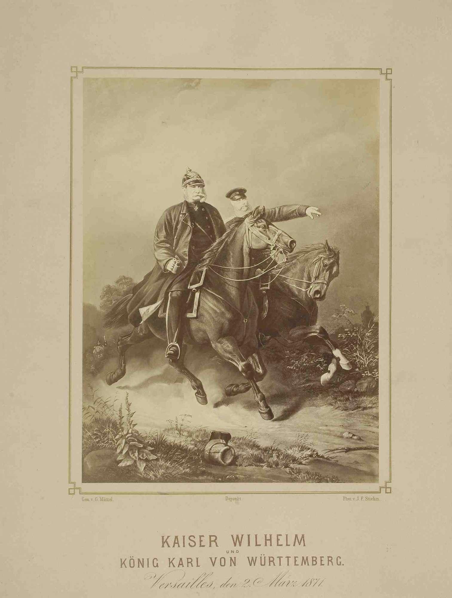 Kaiser Wilhelm I., König von Preußen in Uniform und Pickelhaube mit Fernglas und König Karl von Württemberg in Uniform und Mütze, beide zu Pferd in Versailles, Bild 1