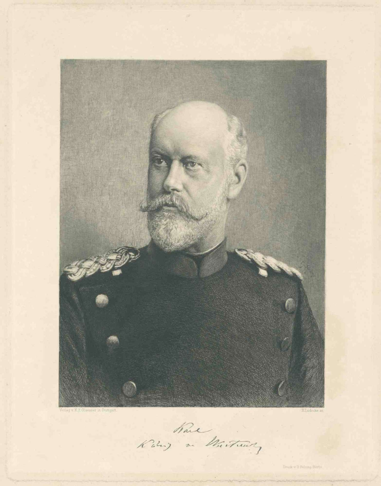 König Karl von Württemberg in Generalsuniform, Brustbild in Halbprofil, Bild 1