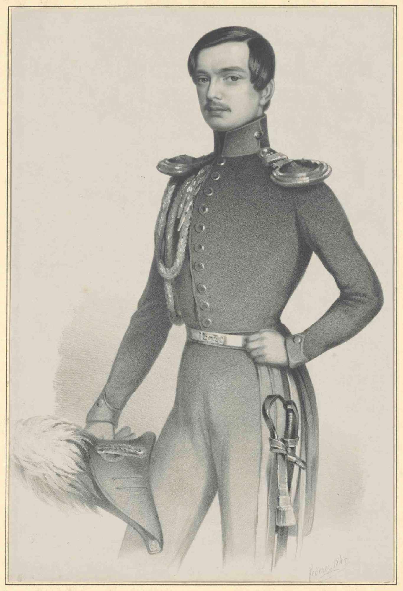 Kronprinz Karl von Württemberg in Uniform mit Mütze in Hand, stehend, Brustbild in Halbprofil, Bild 1