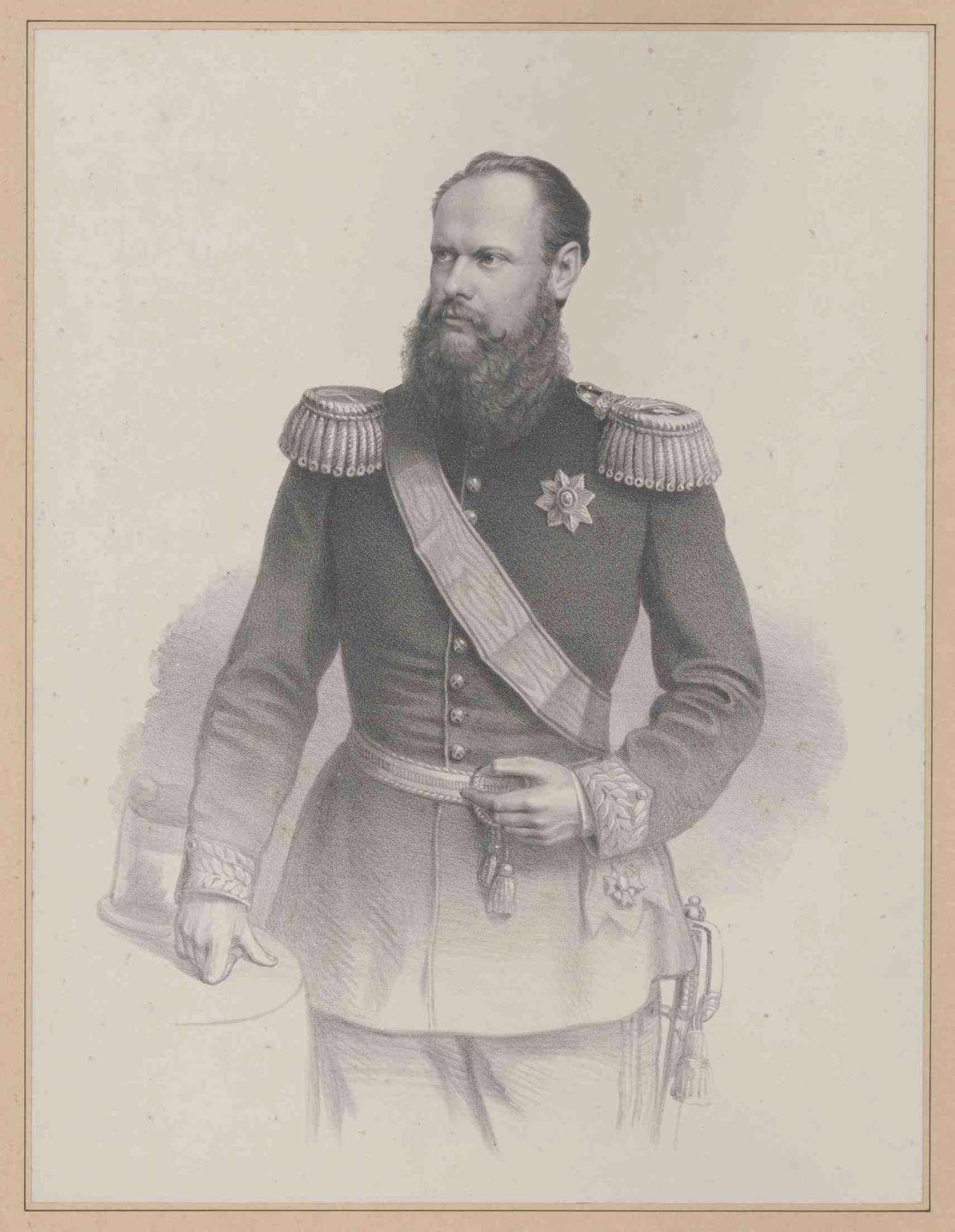 Karl, König von Württemberg, als Kronprinz, in Galauniform mit dem Großkreuz des Ordens der württembergischen Krone, stehend, Brustbild in Halbprofil, Bild 1