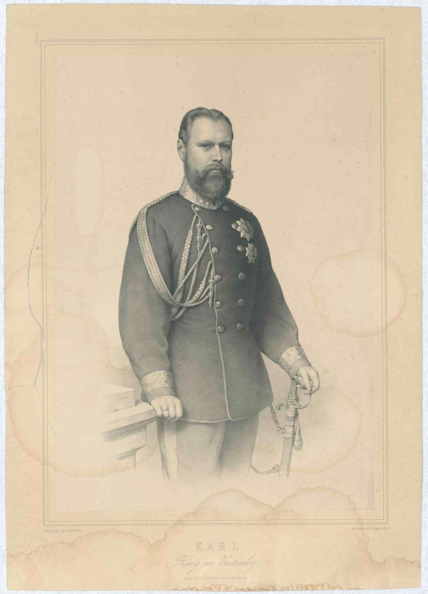 König Karl von Württemberg in Uniform mit Orden, stehend, Brustbild in Halbprofil, Bild 1