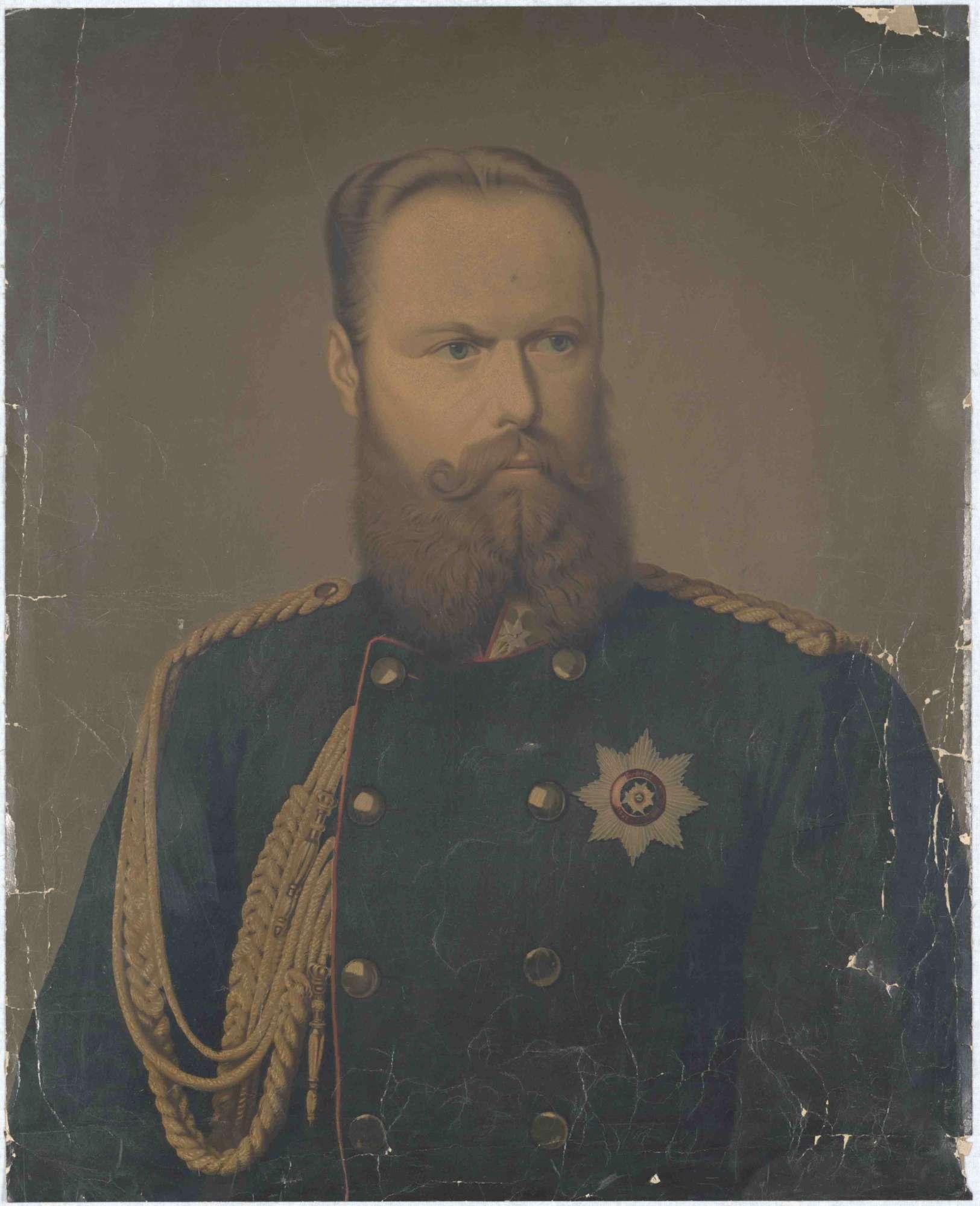 König Karl von Württemberg in Uniform mit Orden, Brustbild in Halbprofil, Bild 1