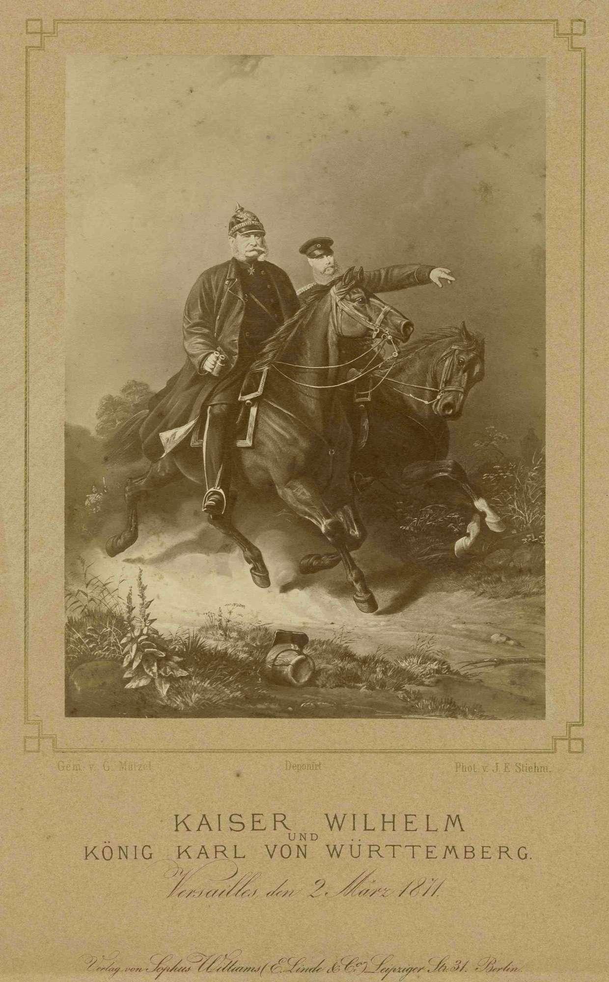 Kaiser Wilhelm I., König von Preußen, in Uniform und Pickelhaube mit Fernglas sowie König Karl von Württemberg in Uniform und Mütze, beide zu Pferd in Versailles, Bild 1