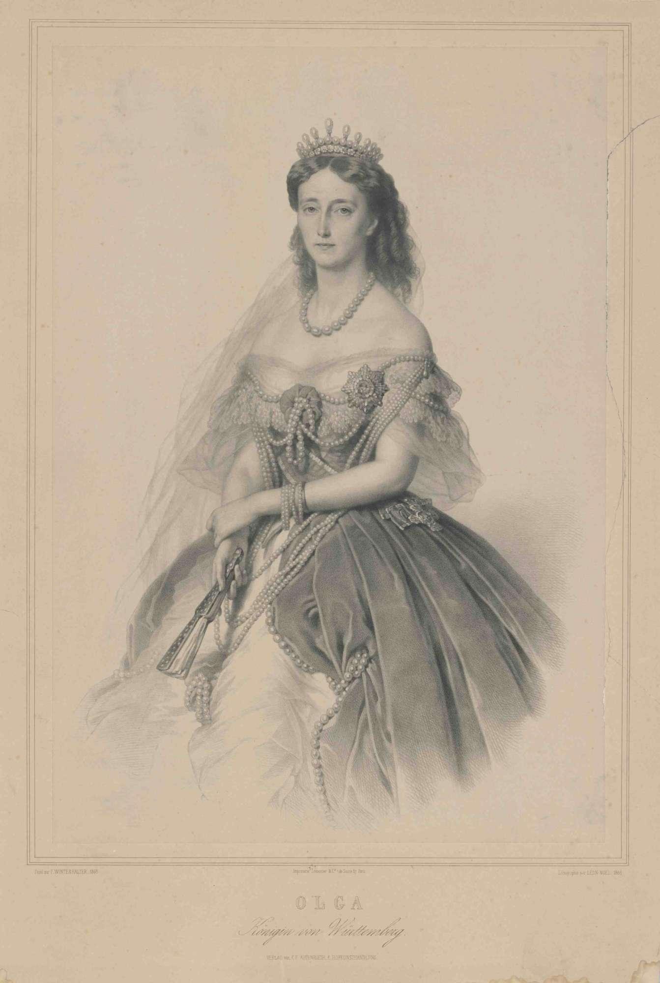 Königin Olga von Württemberg mit Kronjuwelen, Orden, Brustbild in Halbprofil, Bild 1