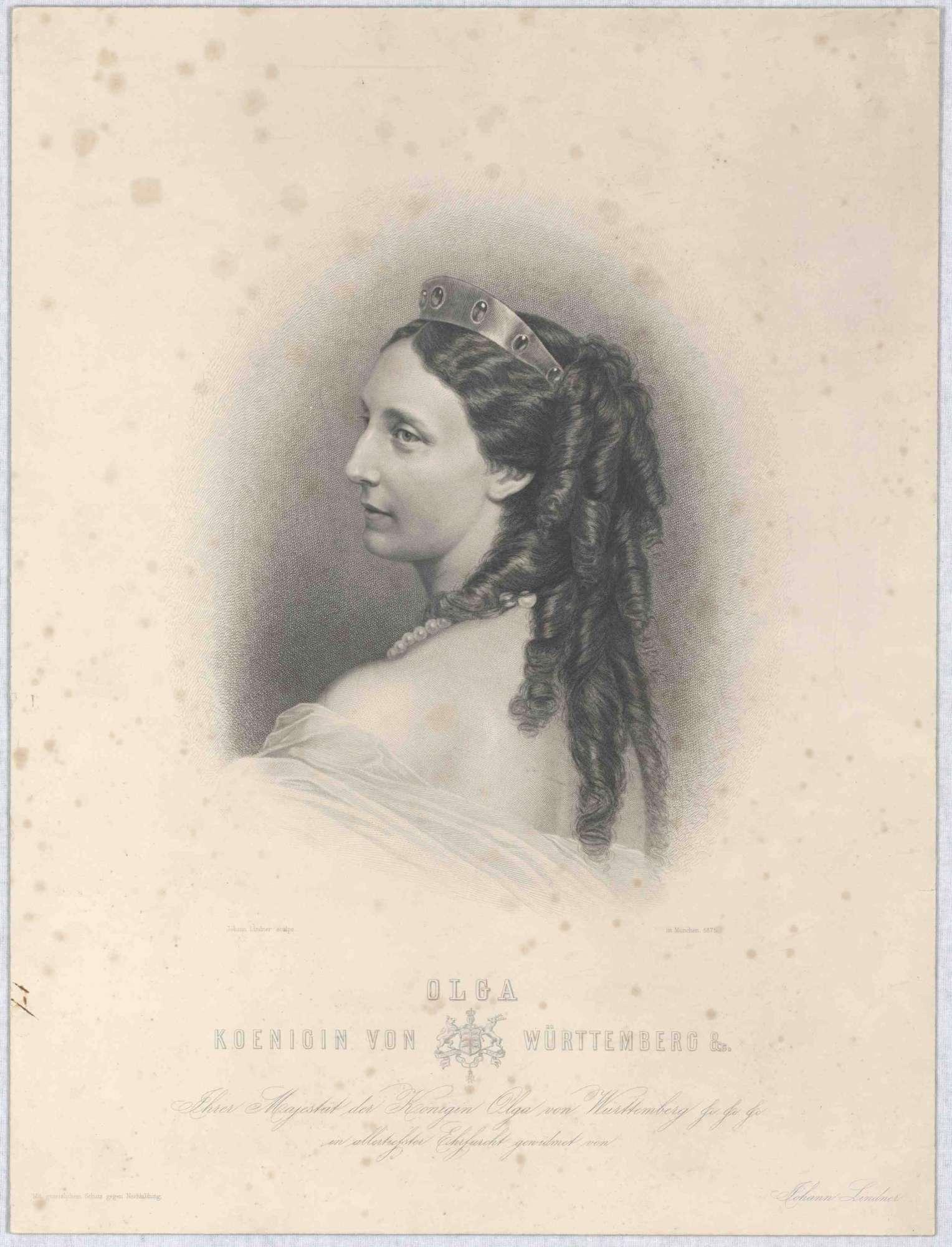 Königin Olga von Württemberg mit Diadem, Brustbild in Halbprofil, Bild 1