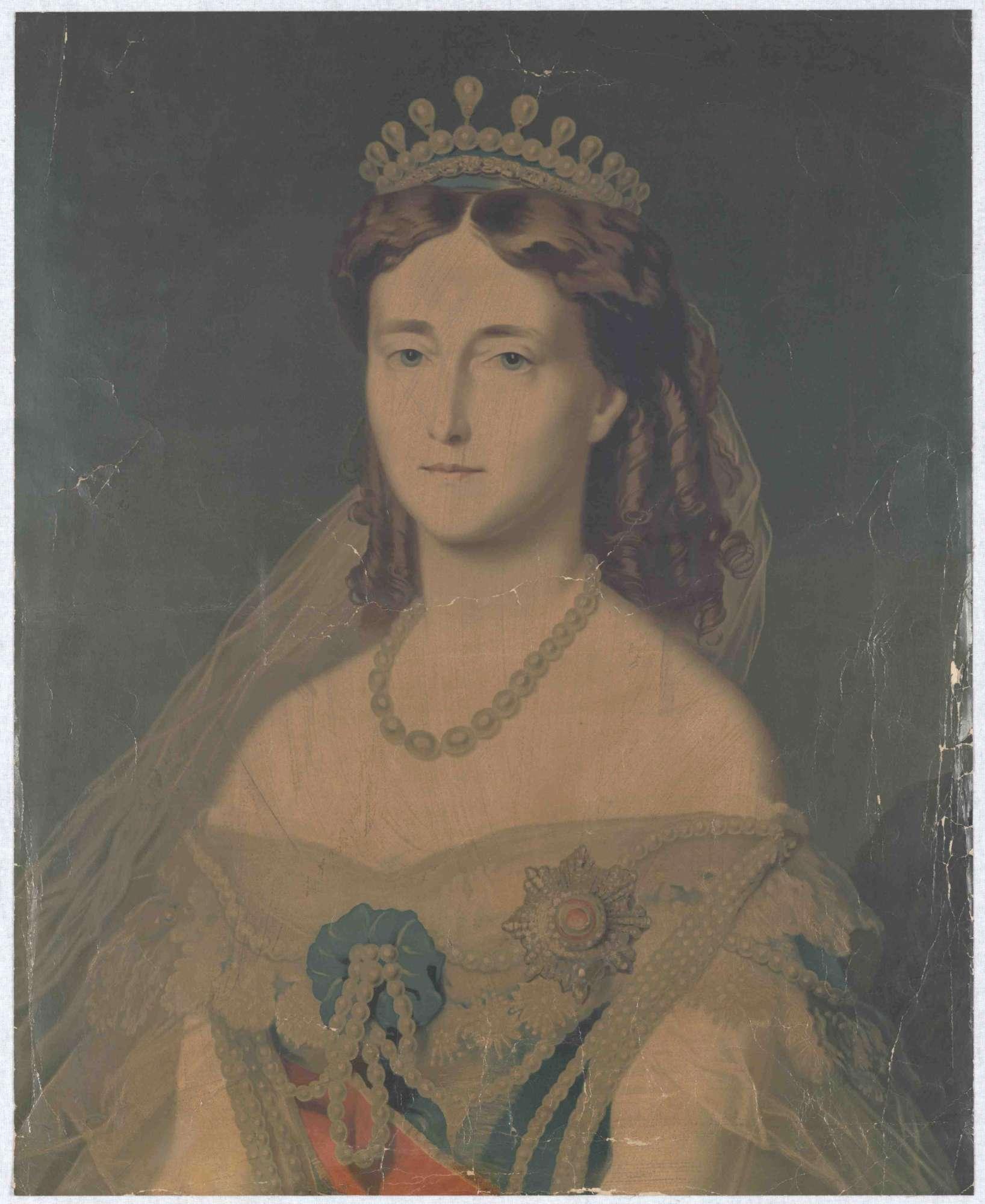 Königin Olga von Württemberg mit Krone und Orden, Brustbild, Bild 1