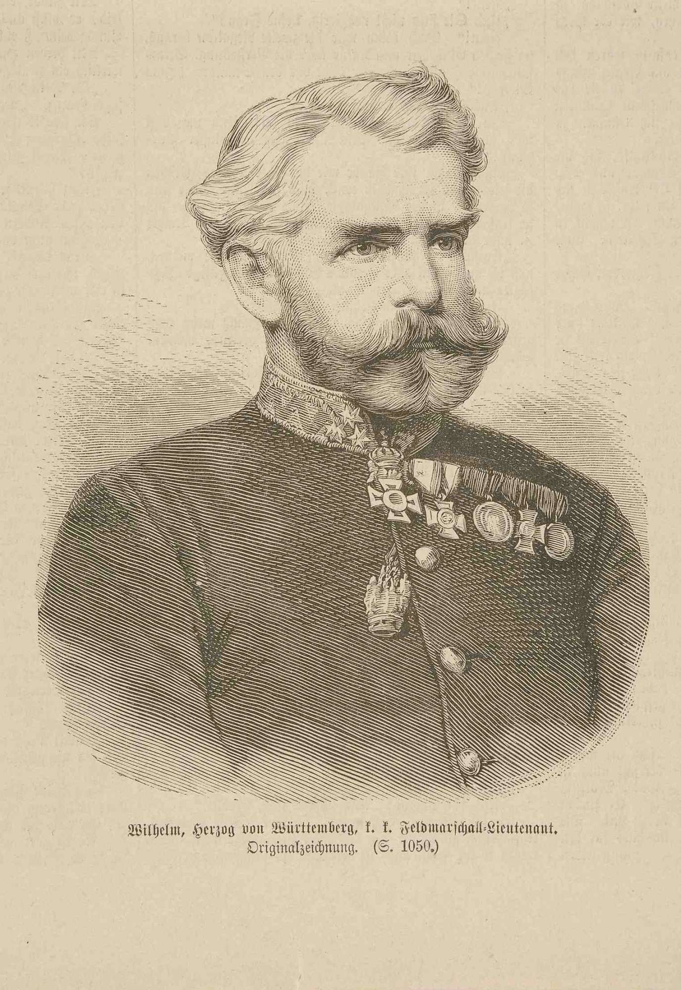 Herzog Wilhelm von Württemberg (1828-1896), österreichischer Feldmarschallleutnant in Uniform mit Orden, Brustbild in Halbprofil, Bild 1
