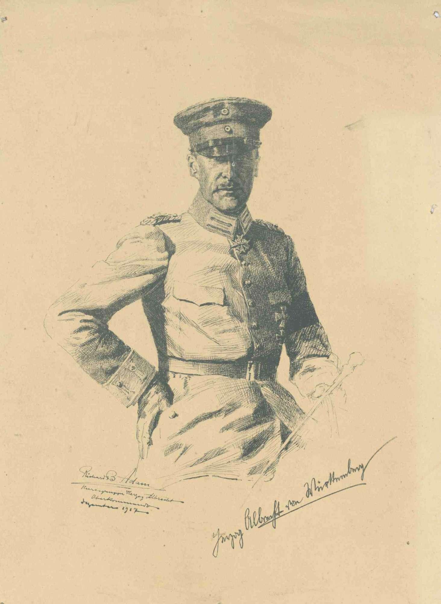 Herzog Albrecht von Württemberg in Uniform eines preussische Generalfeldmarschalls mit Mütze und Orden u. a. pour le mérite, in Halbprofil, Bild 1