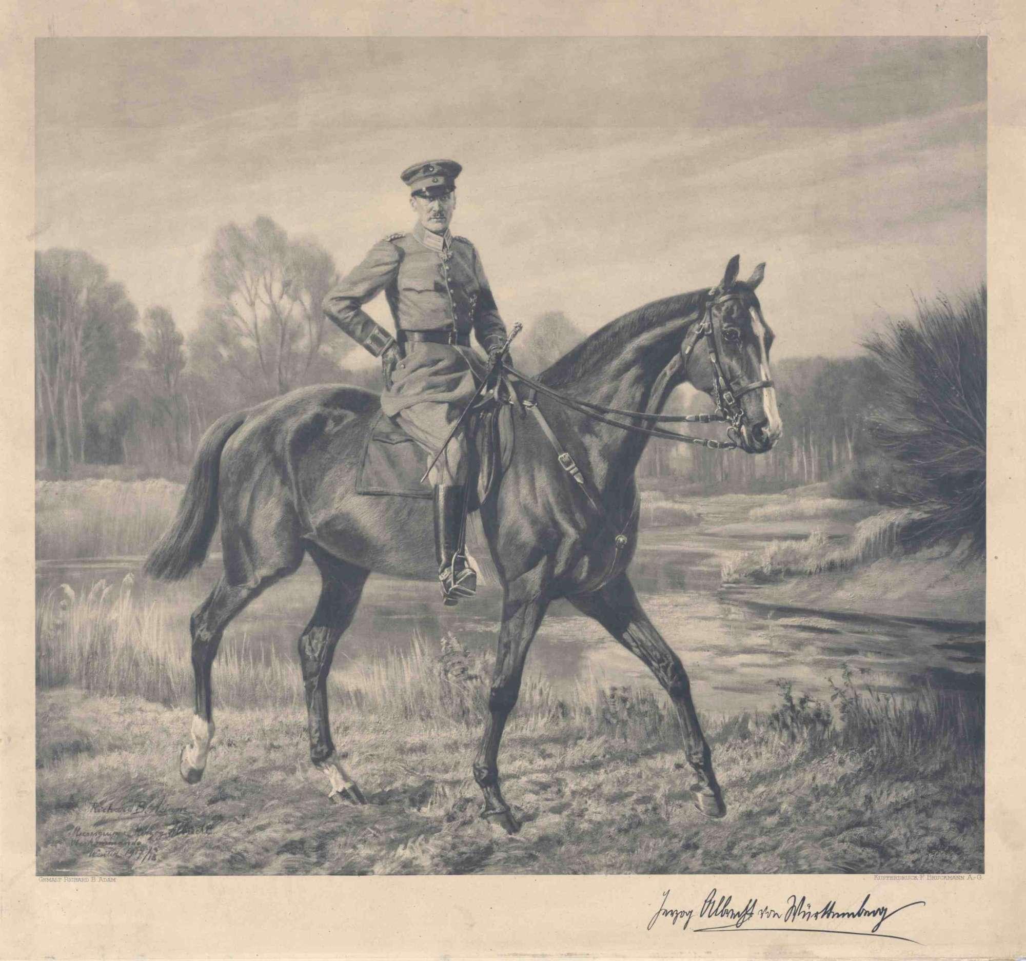 Herzog Albrecht von Württemberg in Uniform und Mütze zu Pferd, mit faksimilierter Unterschrift des Herzogs, Bild 1