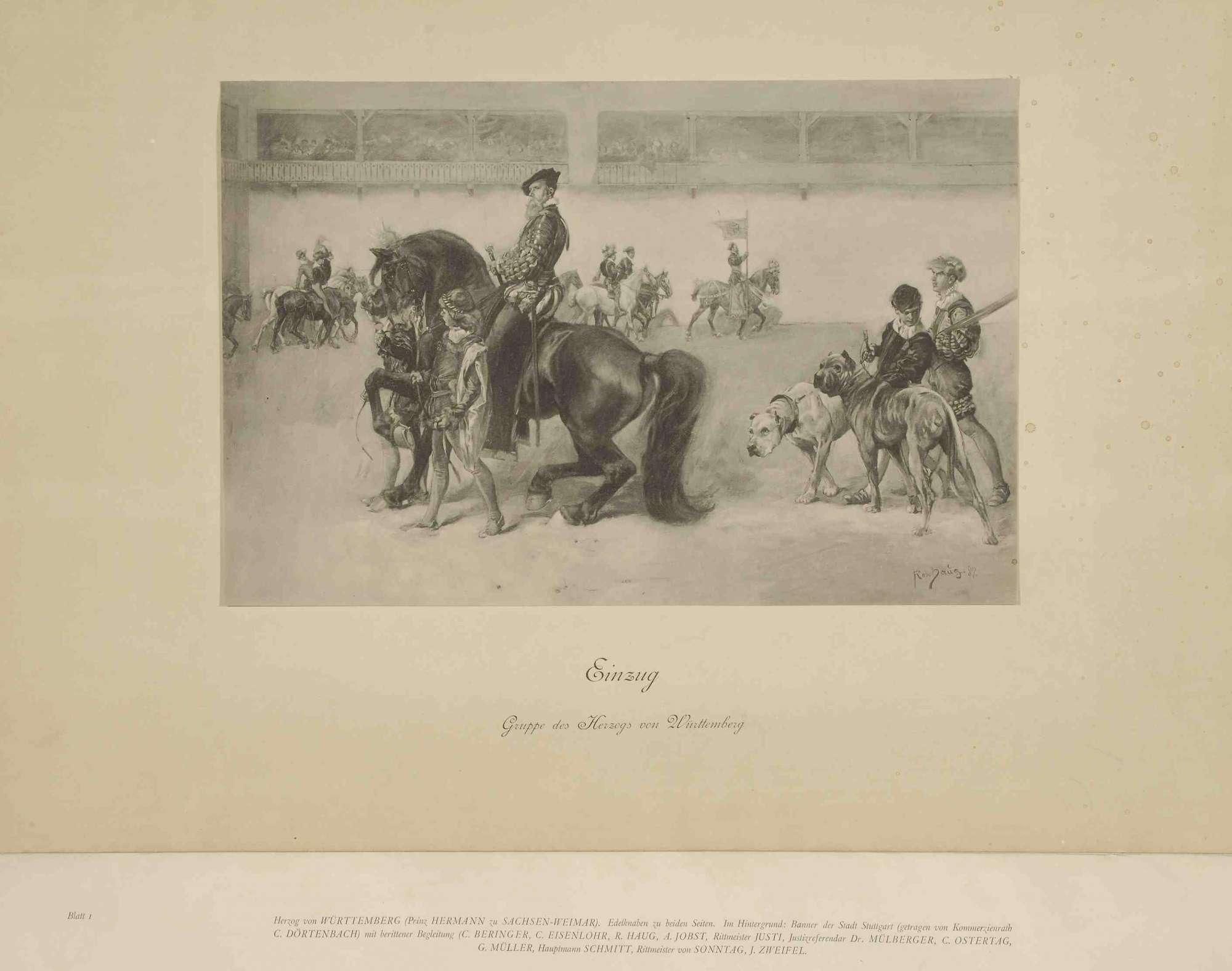 Vermählungsfeier von Prinz Wilhelm von Württemberg mit Prinzessin Charlotte von Schaumburg-Lippe am 28.04.1886, Erinnerungsblätter mit Vorwort und einer Identifizierung dargestellter Personen, Bild 1