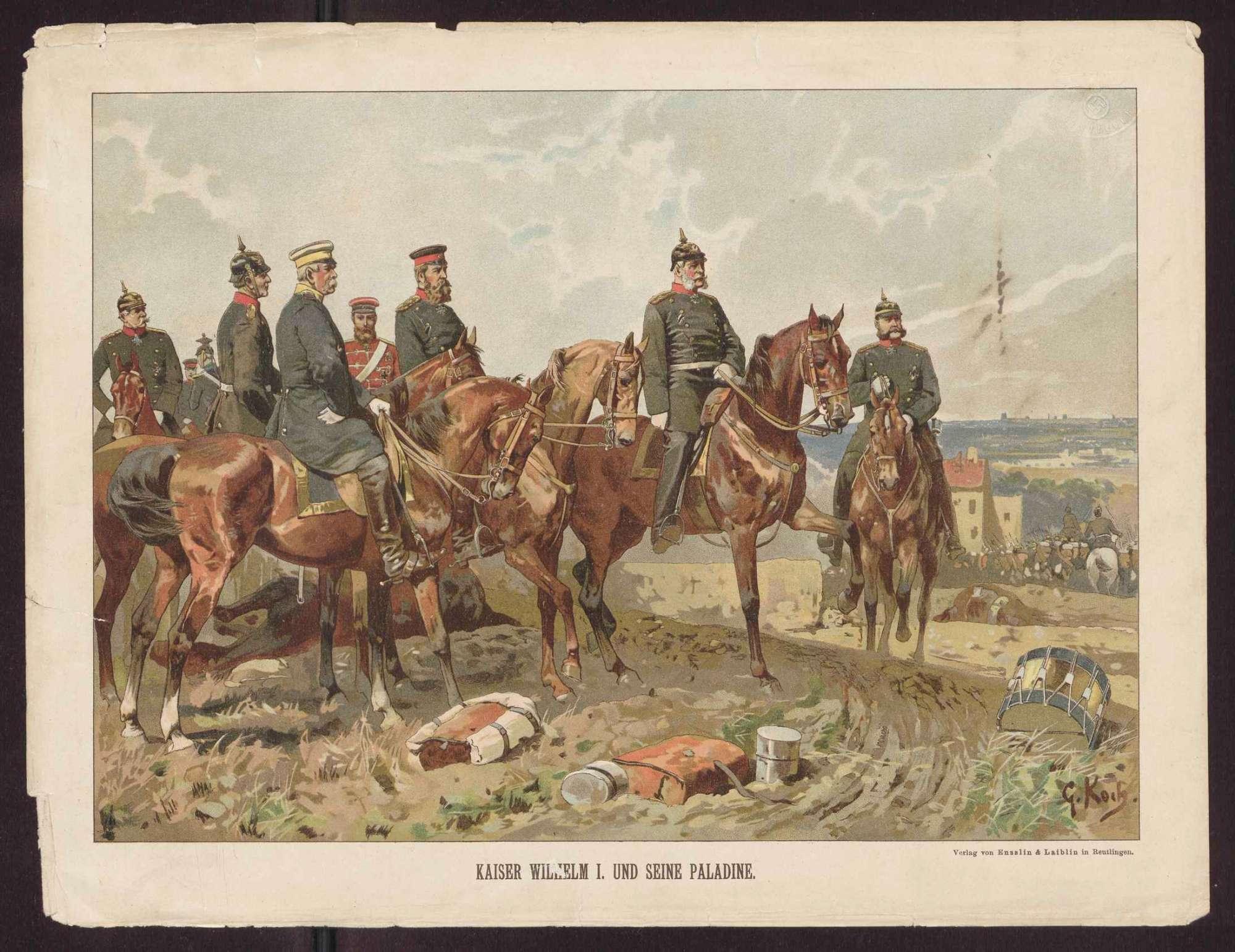 Neun Personen, Kaiser Wilhelm I., König von Preußen und seine Stabsoffiziere in Uniform auf dem Schlachtfeld, im Hintergrund Soldaten teils zu Pferd, teils marschierend, Bild 1
