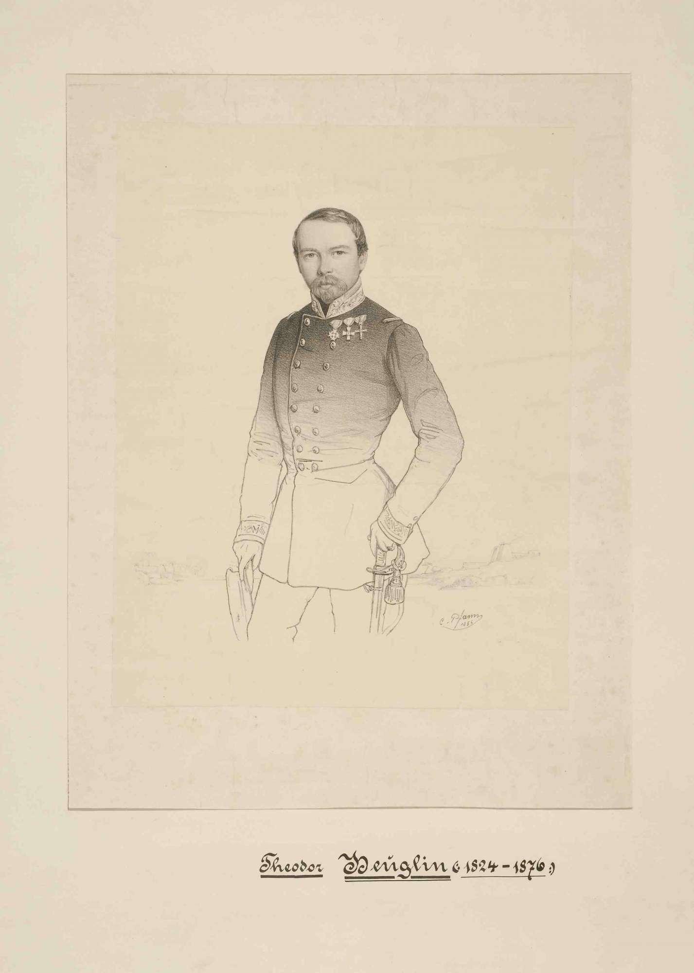 Forschungsreisender Theodor Heuglin vor einer angedeuteten ägyptischen Kulisse stehend, Bild 1