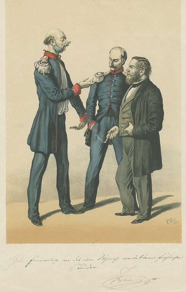 Karikatur des Friedrich Adolph von Seubert, Oberst, Arthur August von Soden, Hauptmann und Herrn von Maucler vom Auswärtigen Amt, Gesprächsrunde (von links nach rechts), Bild 1