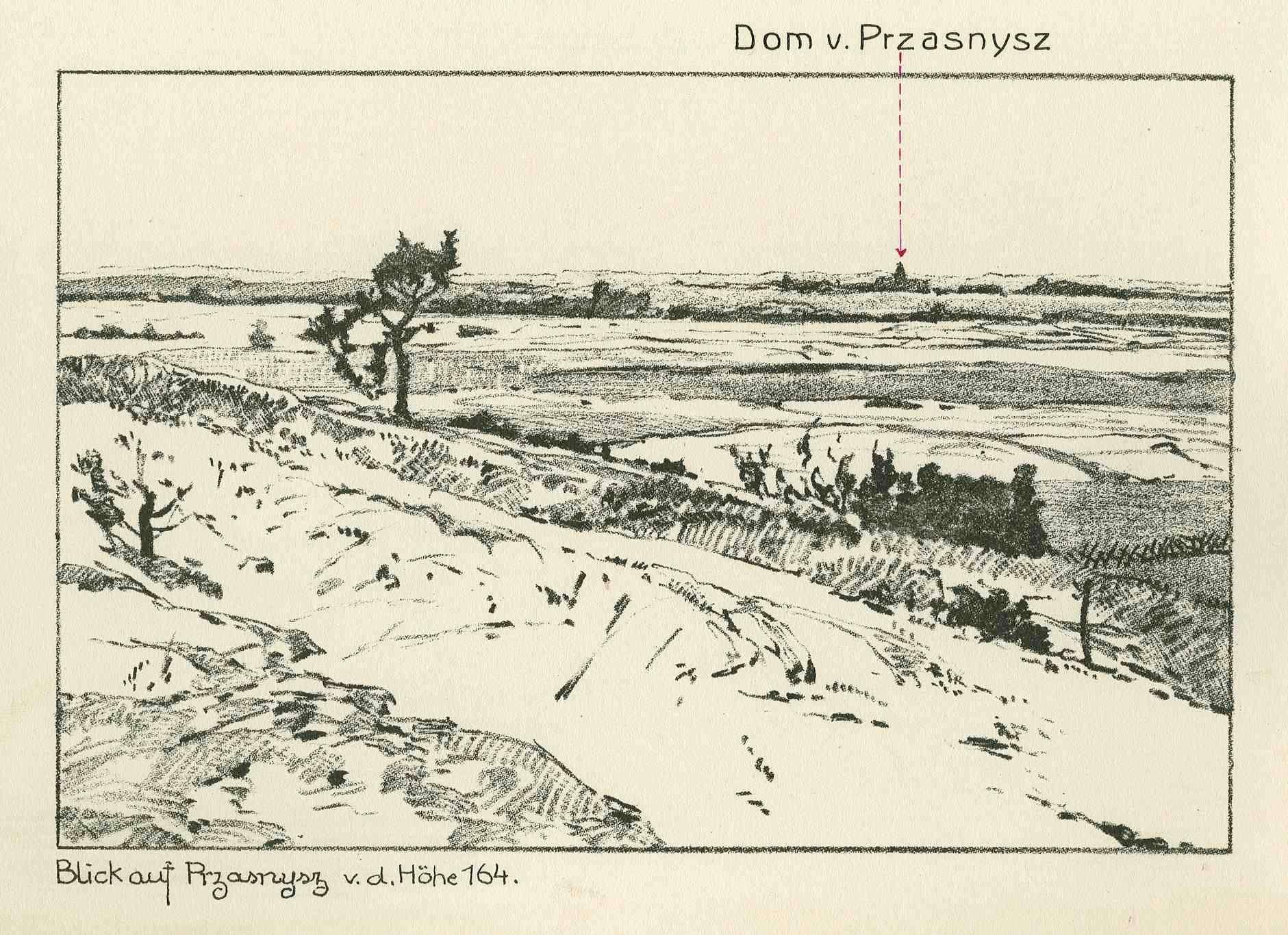 Zehn uniformierte Soldaten des 10. Polnischen Regiments am Grenzpfahl zu Preußen, zwei preuss. Ulanen auf sie zureitend, Versreim, Bild 2