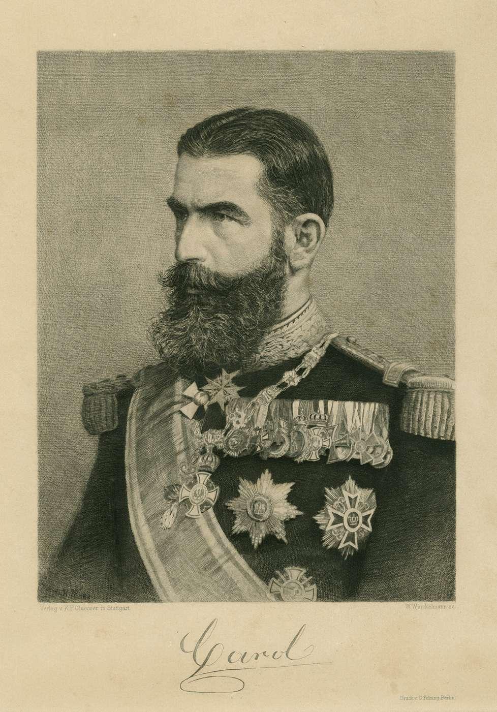 Fürst, König Carol I. (Karl I.) von Rumänien in Uniform mit Schärpe und Orden, Brustbild in Halbprofil, Bild 1