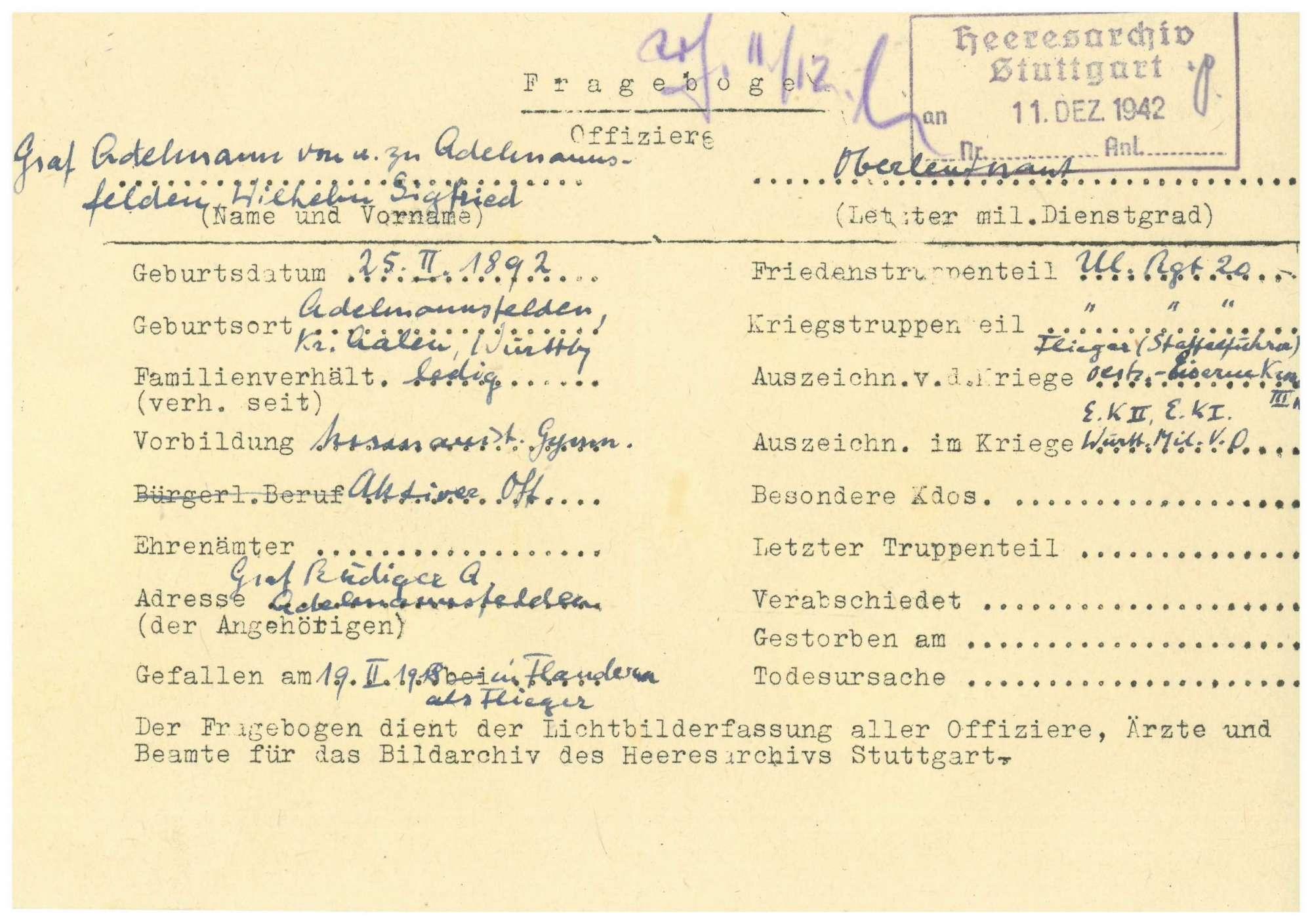 Adelmann von und zu Adelmannsfelden, Siegfried, Graf, Bild 2