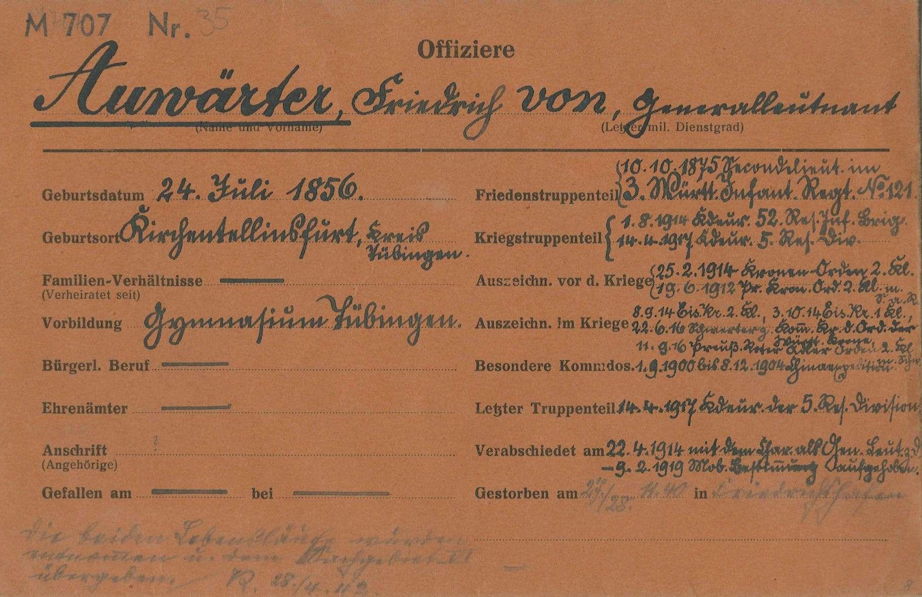Auwärter, Friedrich von, Bild 1