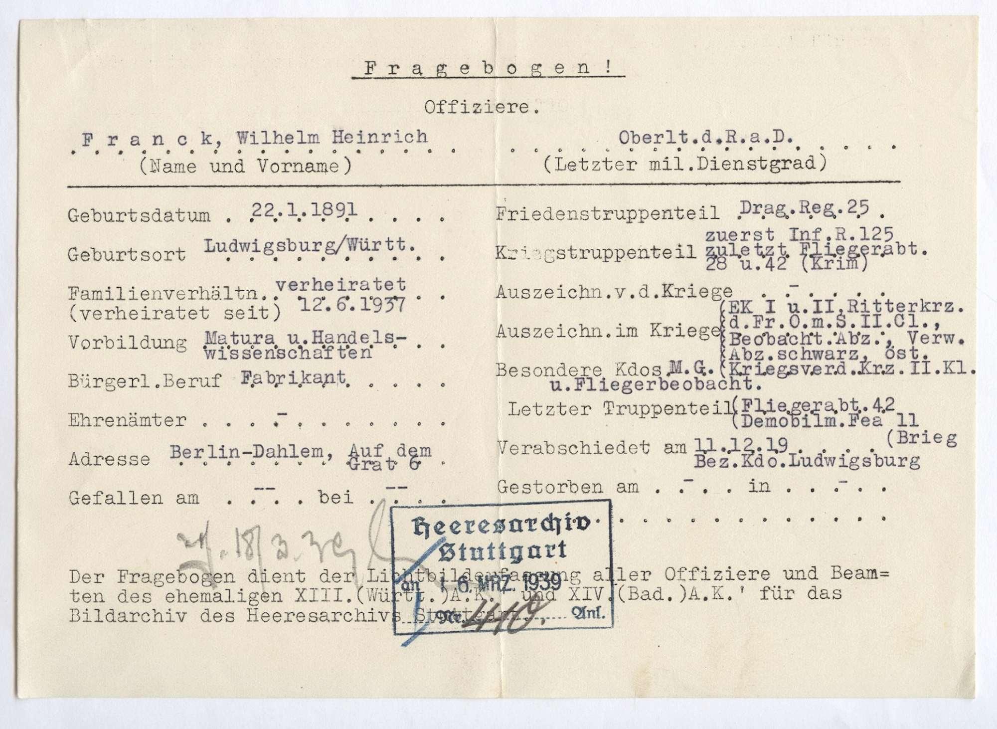 Frank, Wilhelm Heinrich, Bild 2