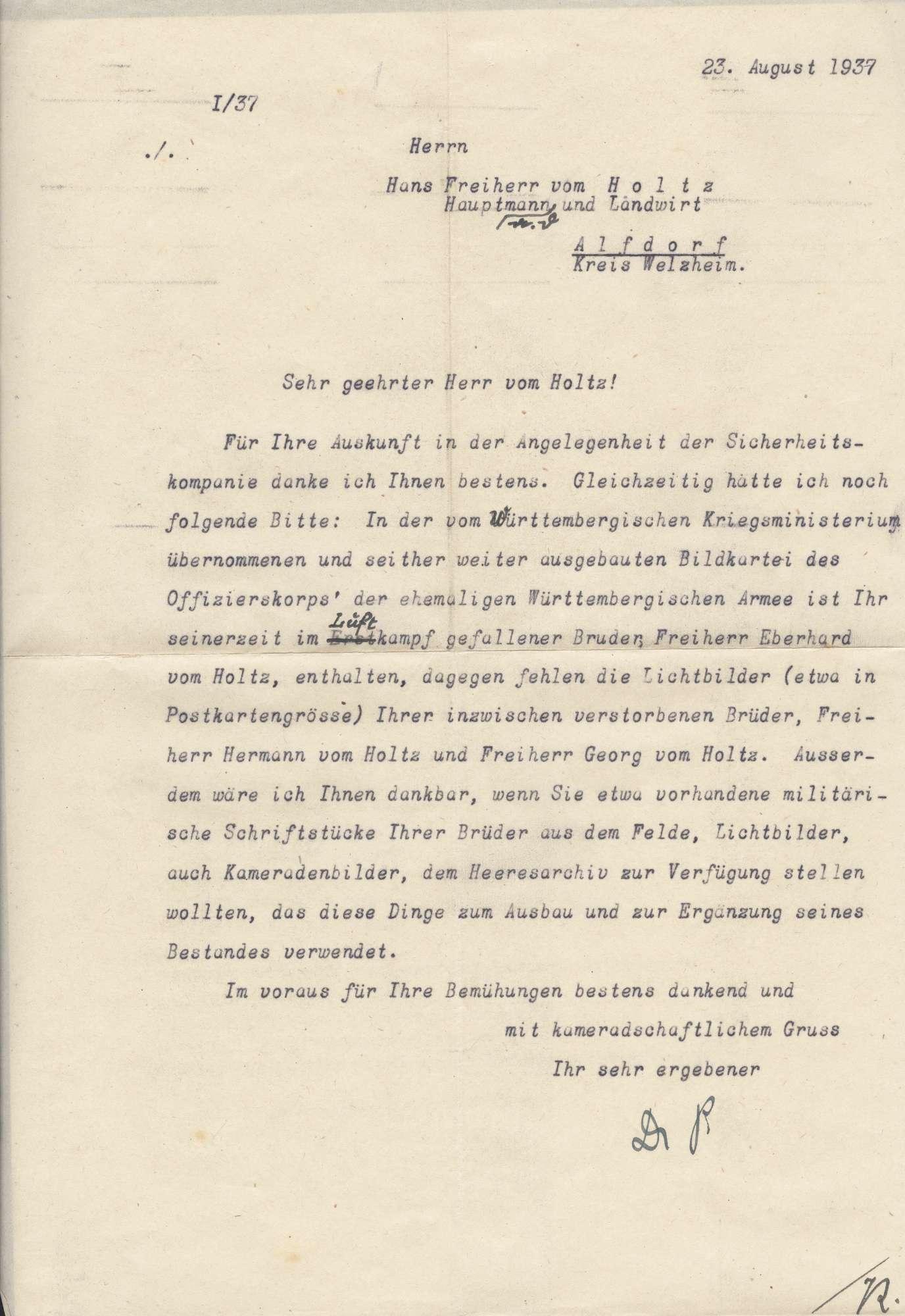 Holtz, Hans vom, Freiherr, Bild 2