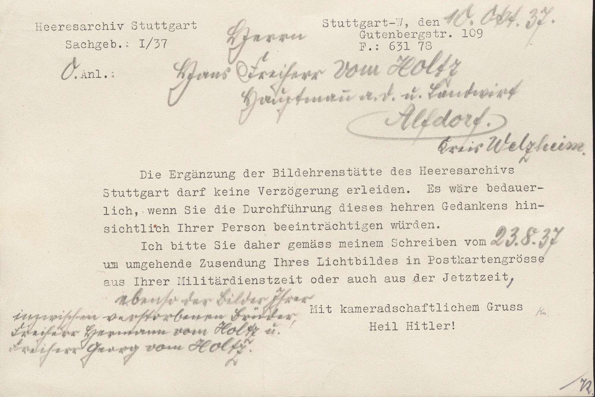 Holtz, Hans vom, Freiherr, Bild 3