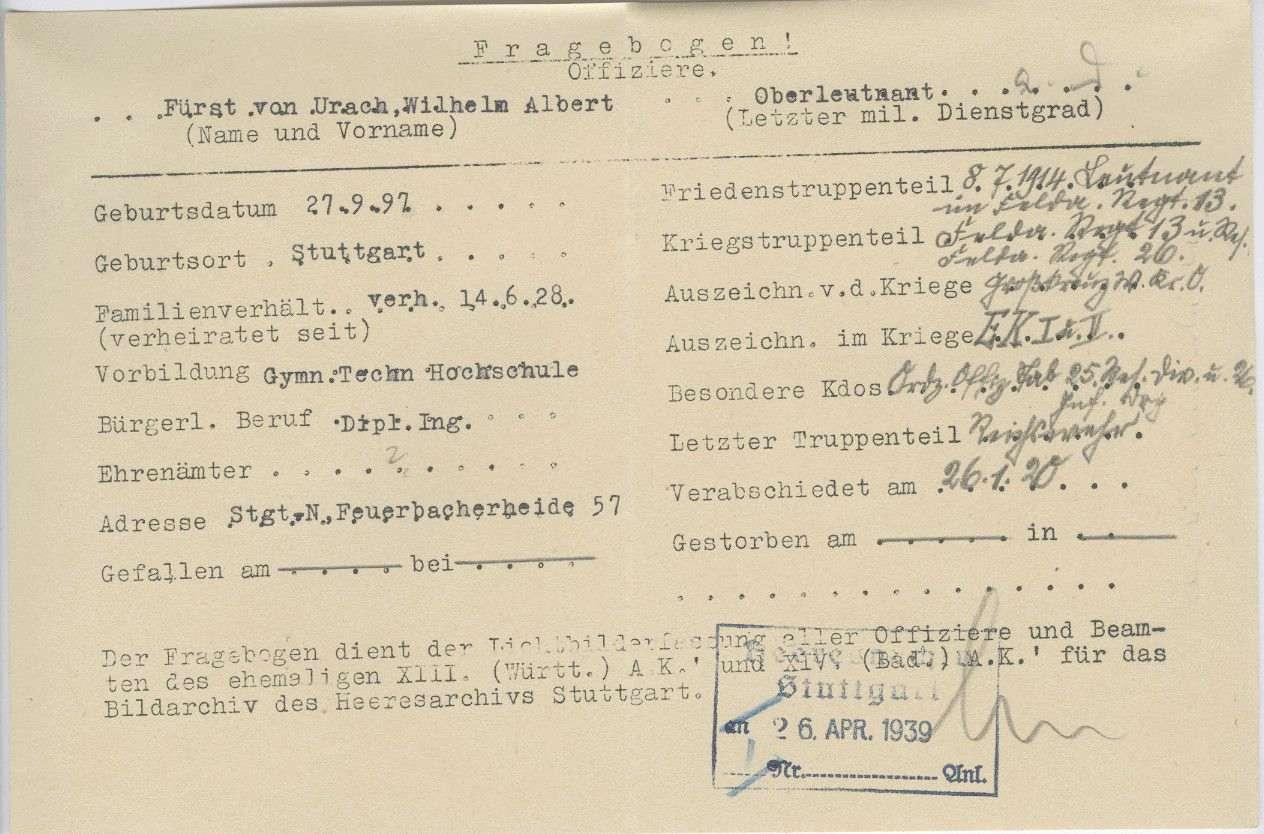 Urach, Wilhelm Albert, Fürst von, Bild 3