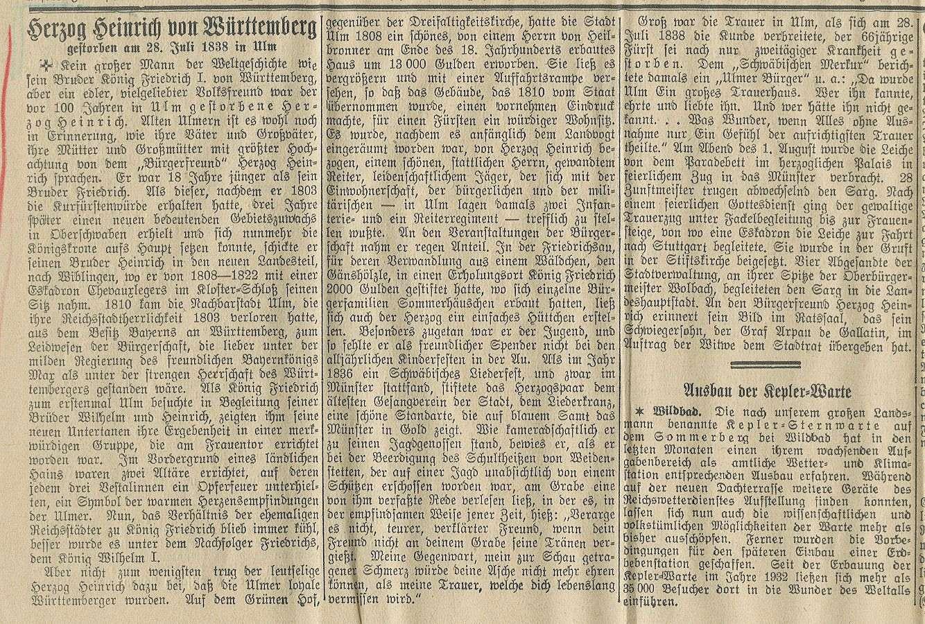 Württemberg, Heinrich von, Herzog, Bild 1