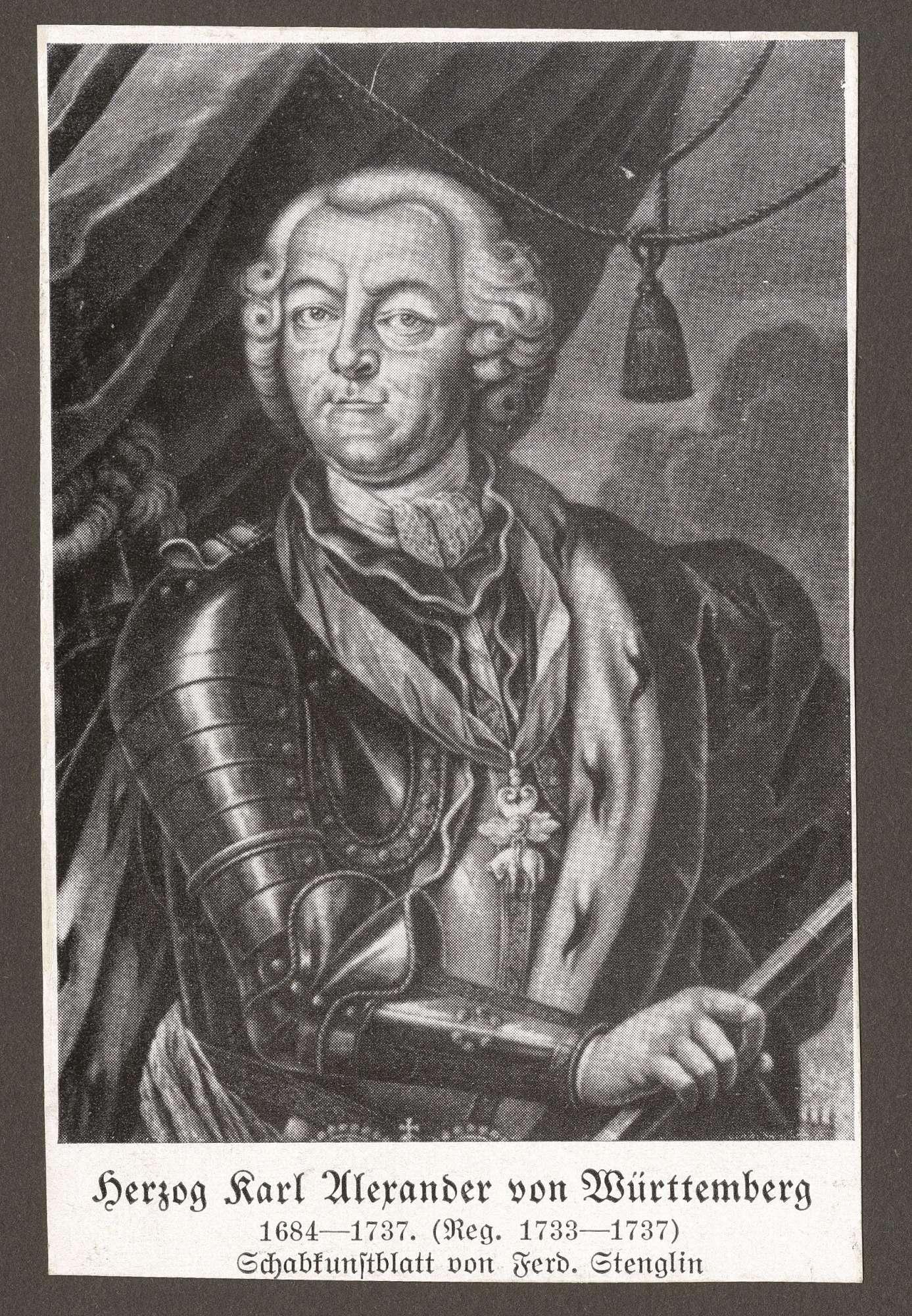 Württemberg, Karl Alexander von, Herzog, Bild 1