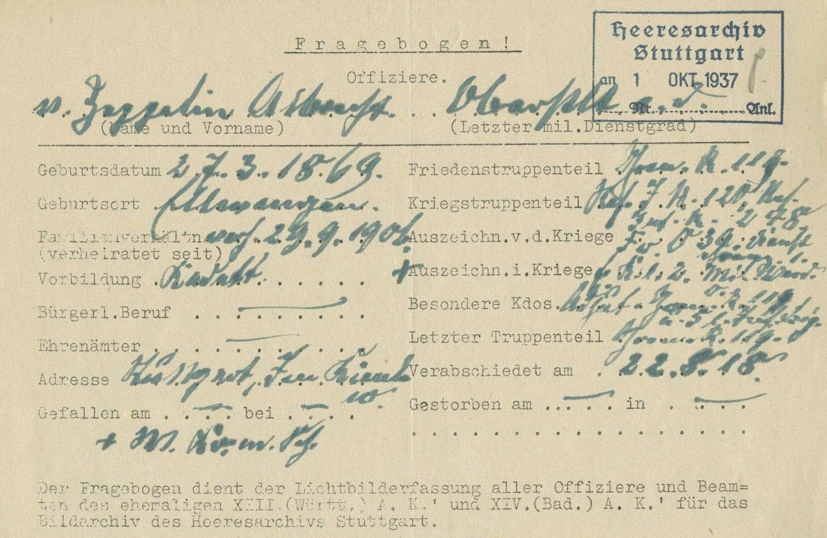 Zeppelin, Albrecht Gustav Melchior von, Bild 2
