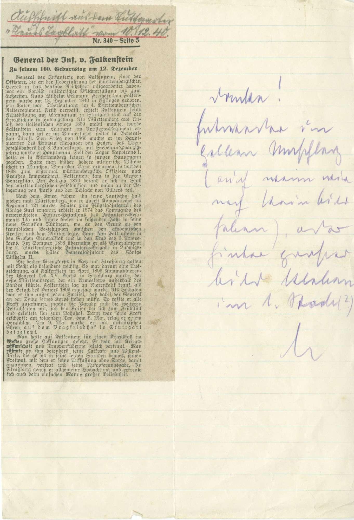 Falkenstein, Kuno Wilhelm Erdmann von, Freiherr, Bild 2