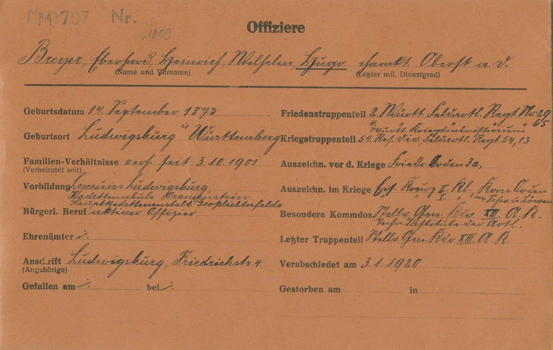 Breyer, (Eberhard Heinrich Wilhelm) Hugo, Bild 1