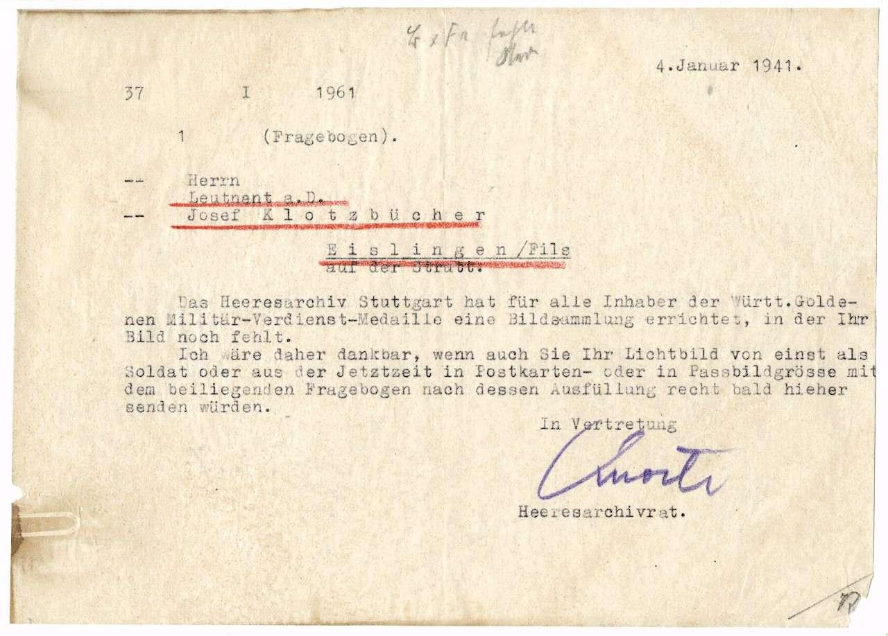 Klotzbücher, Josef, Bild 1