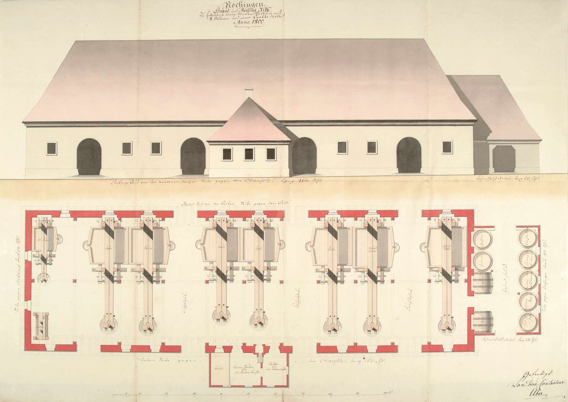 """""""Plochingen. Grund- und Aufzug Risse, zur Erbauung einer neuen Kelter mit 8 Bäumen und einer Drotte daselbst"""", Bild 1"""
