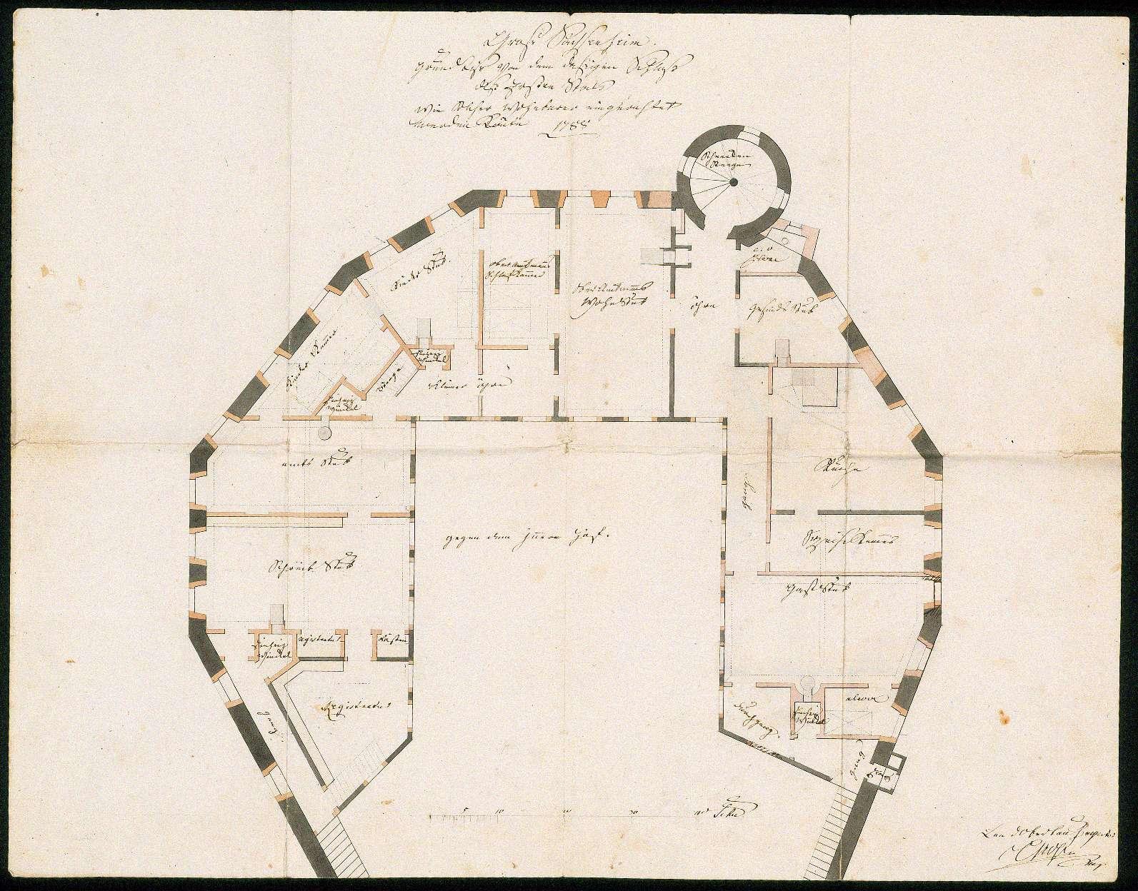 """""""Groß Sachsenheim. Grundriß von dem daßigen Schloß deß Ersten Stocks wie solcher wohnbarer eingerichtet werden könte. 1788"""", Bild 1"""