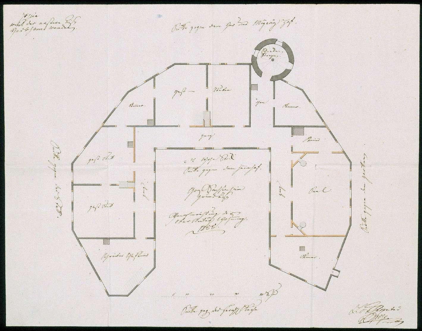 """""""Groß Sachsenheim Grundriß von Einrichtung der Oberbeamtung Wohnung. 1788"""", Bild 1"""