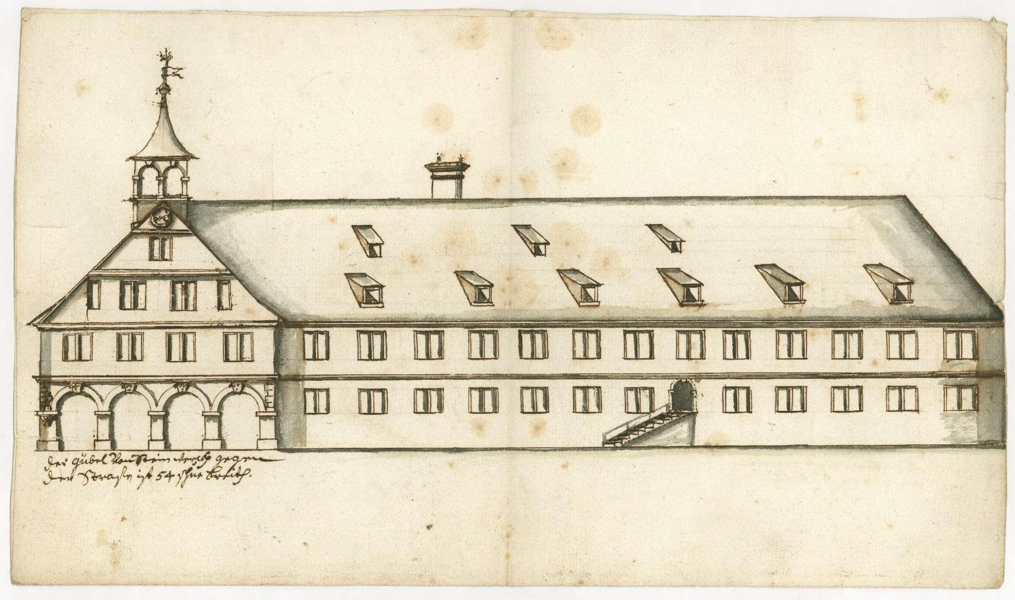 [Aufriss des Giebels und der Längsseite des neu zu bauenden Rathauses in Kirchheim], Bild 1