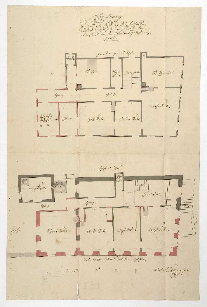 """""""Backnang. Grundriß zu Wiederherstellung des schadhaften Kellers und eines neu zu machenden Anstoß an die Oberamtey-Wohnung"""", Bild 1"""