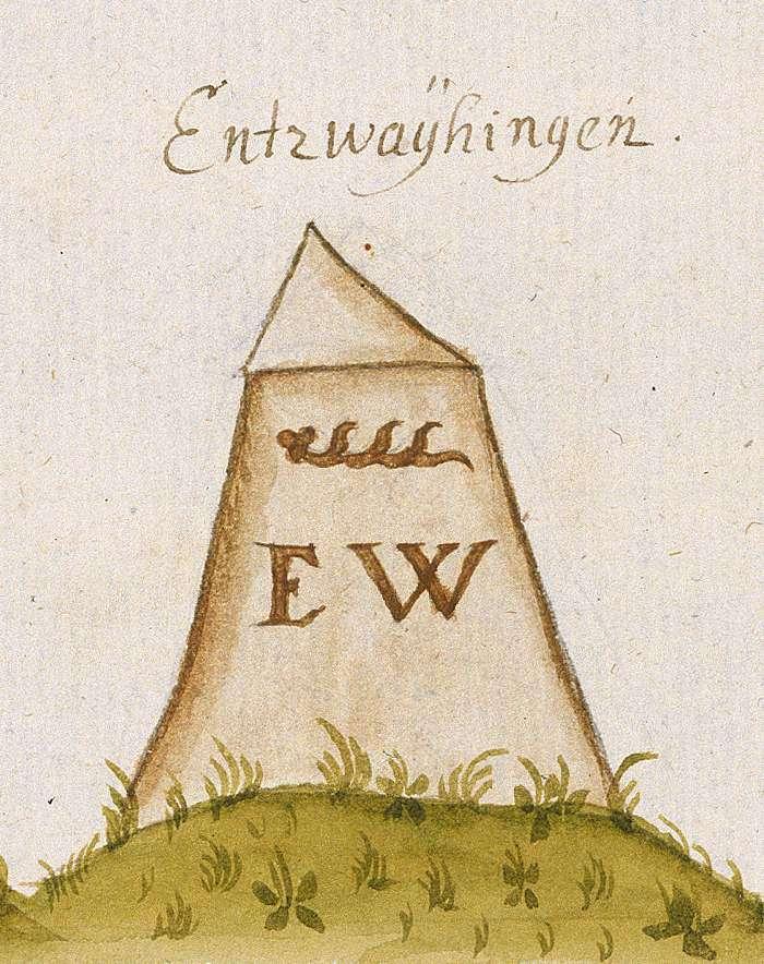 Enzweihingen, Vaihingen an der Enz, LB (Leonberger Forst, Marksteinzeichen III), Bild 1