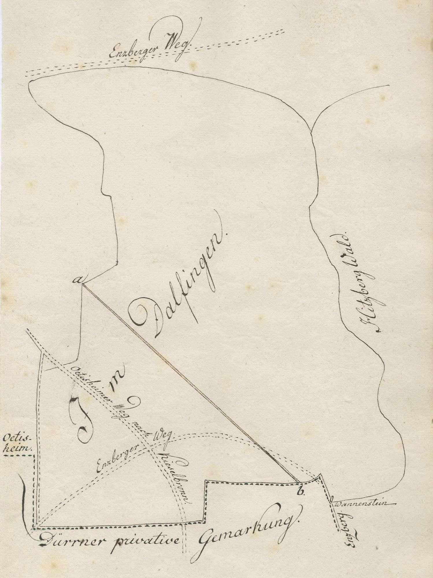 [Handriss der Dagolfinger Markung zwischen Enzberg und Dürrn], Bild 1