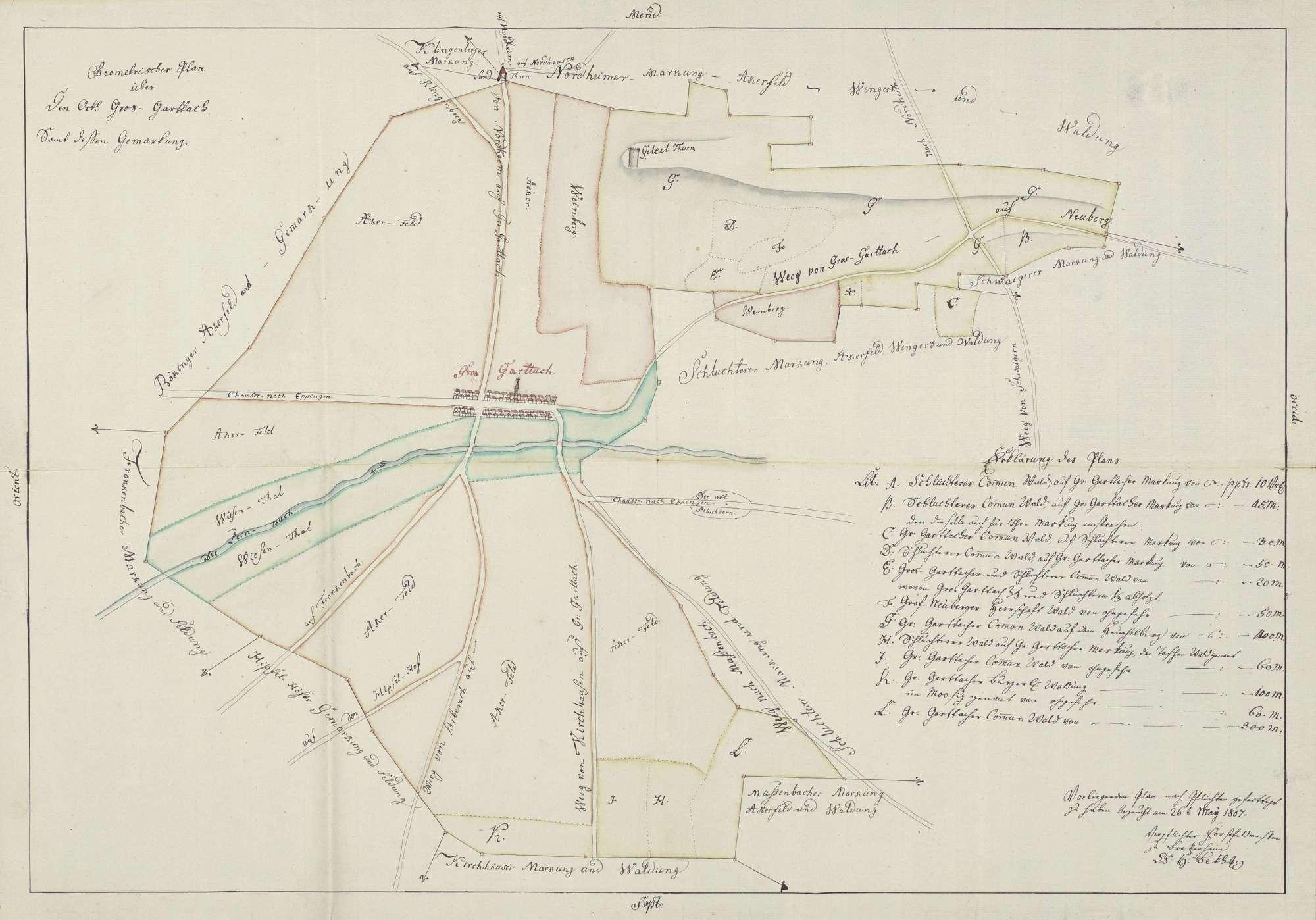 """""""Gheometrischer Plan über den Orth Gros-Garttach samt dessen Gemarkung"""", Bild 1"""