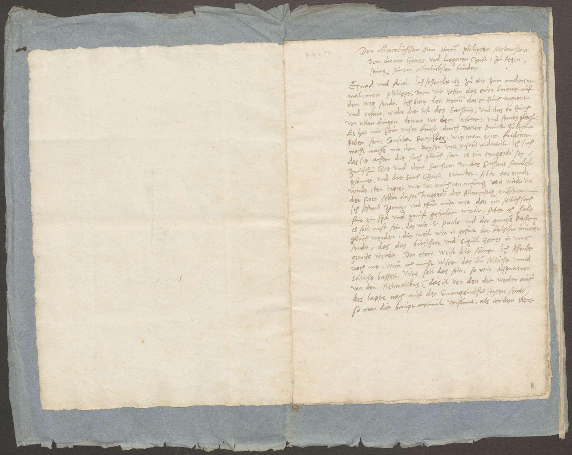 Schreiben von Luther an Melanchthon und Kaspar Kreuzinger, vermutlich zur Zeit des Wormser Gesprächs geschrieben, nebst den zu Worms übergebenen Religionsartikeln der Protestanten (Abschriften), Bild 3
