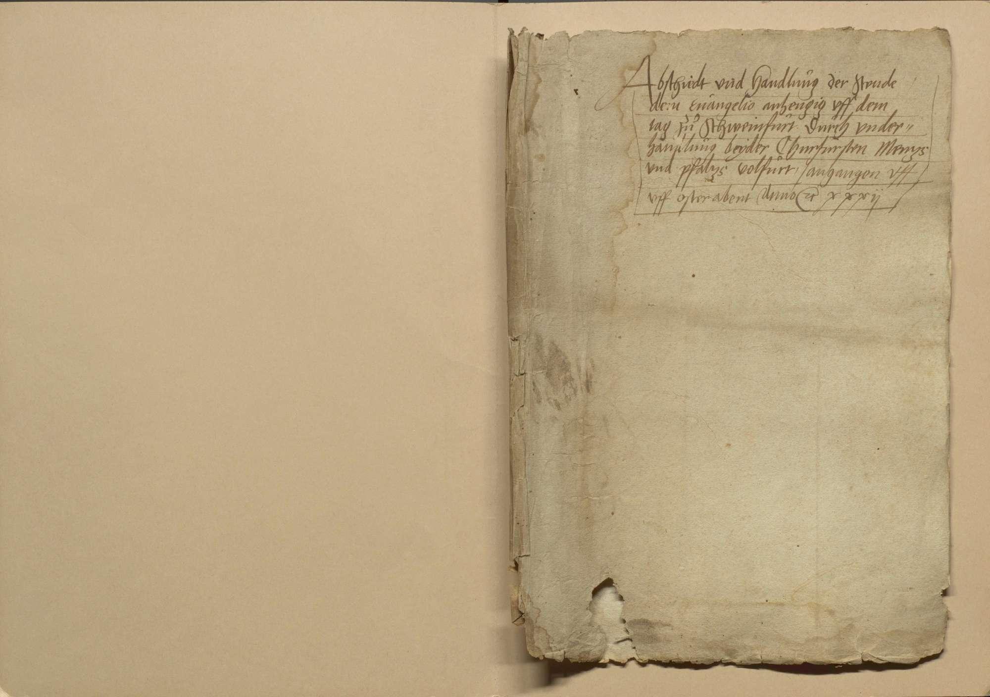 Zusammenkunft der protestantischen Stände und der beiden katholischen Kurfürsten Mainz und Pfalz zu Schweinfurt am Ostertag (am 31. März) 1532 wegen gütlicher Auseinandersetzung der Religionsstreitigkeiten, Bild 2