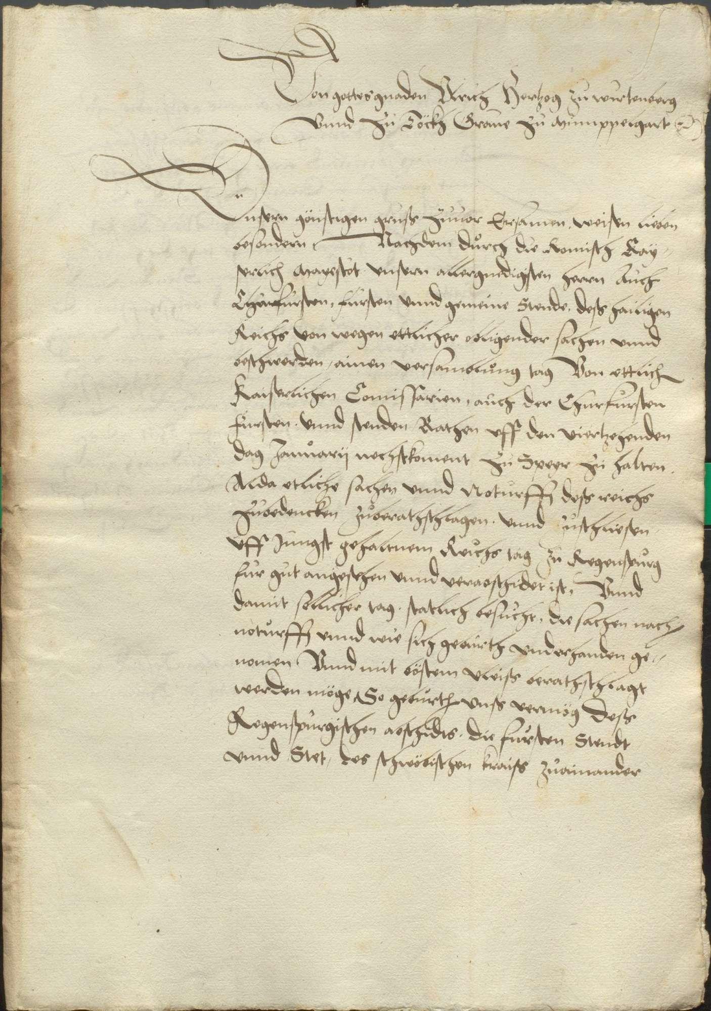 Kraft des Abschieds zu Regensburg von 1541 angesetzter Versammlungstag der Stände zu Speyer auf dem 14. Januar 1542 und der deswegen vom Herzog von Württemberg vorher ausgeschriebene Versammlungstag der Stände des Schwäbischen Kreises nach Weil der Stadt auf den 20. November 1541. Es sollte auf dem Speyerischen Tag wegen der Reichsanschläge, der Münze, der Kammergerichtsvisitation, der beharrlichen Türkenhilfe, der Polizei, der Straßburgischen Beschwerden gegen das Kammergericht, des Stimmrechts der Reichsstände, der Mordbrenner und der Rechnung der Anlagen, vermöge des Reichsabschieds und des Privatabschieds der Protestanten zu Regensburg von 1541 gehandelt werden., Bild 2