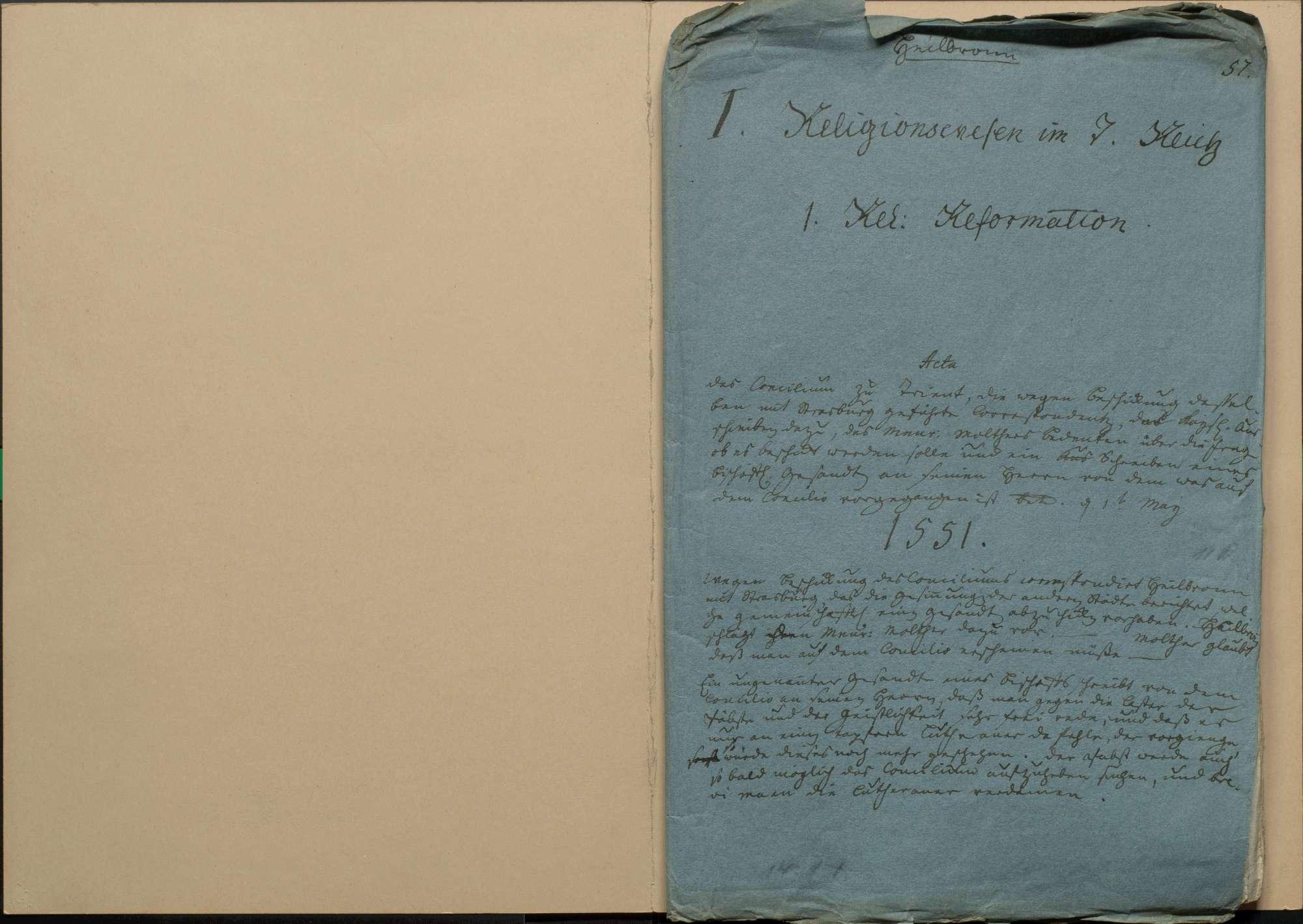 Konzil von Trient, die wegen Beschickung desselben mit Straßburg geführte Korrespondenz und das kaiserliche Ausschreiben dazu sowie Bedenken des Menrad Molther über die Frage, ob es beschickt werden solle und ein Schreiben eines bischöflichen Gesandten an seinen Herrn, von dem was auf dem Konzil vorgegangen ist, 1. Mai 1551, Bild 1